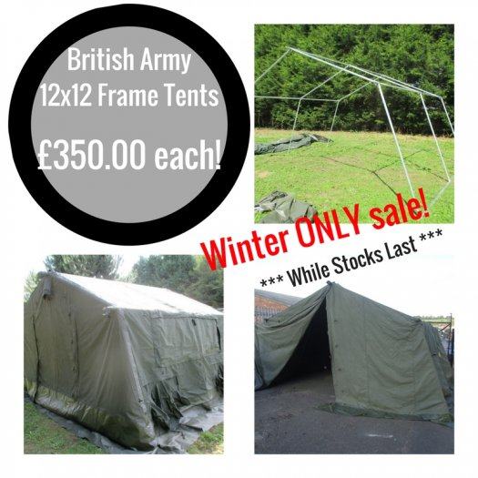 British Army 12x12 Tents - On Winter Sale